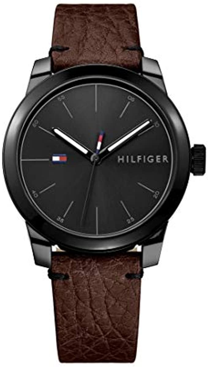 Tommy Hilfiger Men's Quartz Watch with Leather Calfskin Strap, Brown, 20