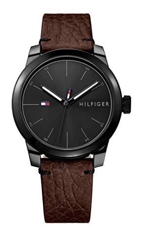 Tommy Hilfiger Relógio masculino de quartzo com pulseira de couro de bezerro, marrom, 20 (modelo: 1791383)