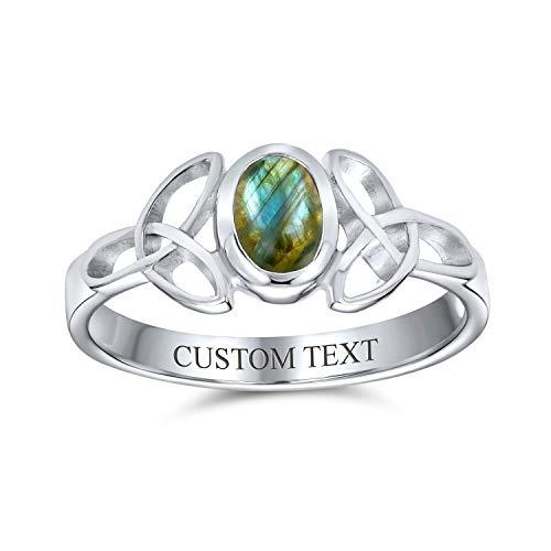Personalizado delicado celta Trinidad nudo Triquetra anillo para las mujeres adolescentes banda delgada Iridescent labradorite 925 anillo de plata de ley grabado a medida