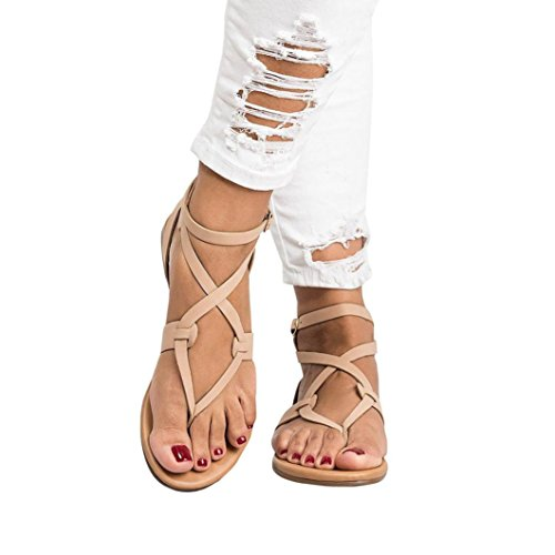 Gyoume Women Shoes Ankle Roman Sandals ShoesFashion Cross Strap Flat Sandals (US:8, Beige)