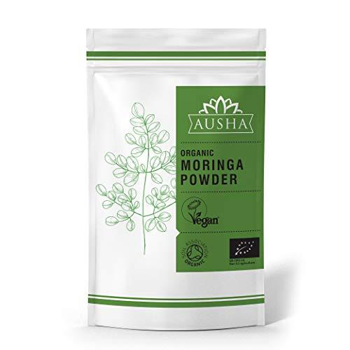 AUSHA Organic Moringa Leaf Powder - Premium Quality (Organic,Immunity,Alkaline,Detox,Cleanse,Iron,Calcium,Magnesium,High in Minerals, Vitamins&Anti Oxidants)-200g