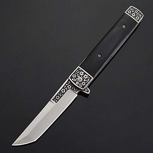 Eil Klappmesser Scharfes Outdoor Messer Jagdmesser & Survival Knife Einhandmesser Taschenmesser mit Edelstahlklinge (Schwarz)