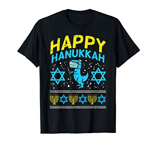 Happy Hanukkah Trex Mask Ugly Chanukah Quarantine Jew Gift T-Shirt