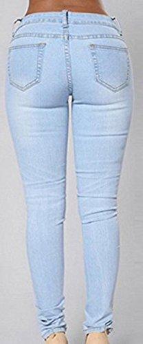 Dellytop Women's Blue Denim Stretch Jeans Destroy Skinny Ripped Distressed Pants