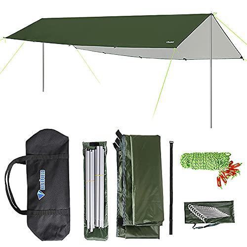 Roeam Tenda Parasole da Campeggio Tenda da Sole 3x5m Tenda da Sole Impermeabile con Asta Tenda da Sole da Spiaggia Ultraleggera per Escursioni in Campeggio e Rifugio di Sopravvivenza