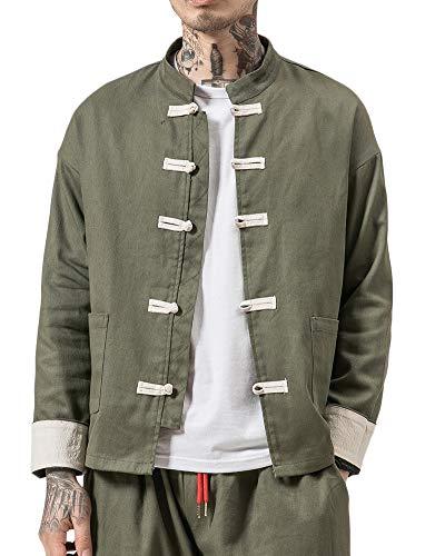 Liangzhu Herren Leinen Mäntel China Handgemachte Kung Fu Tai Chi Baumwolle Jacke Von Maßschneider Armee-Grün XL