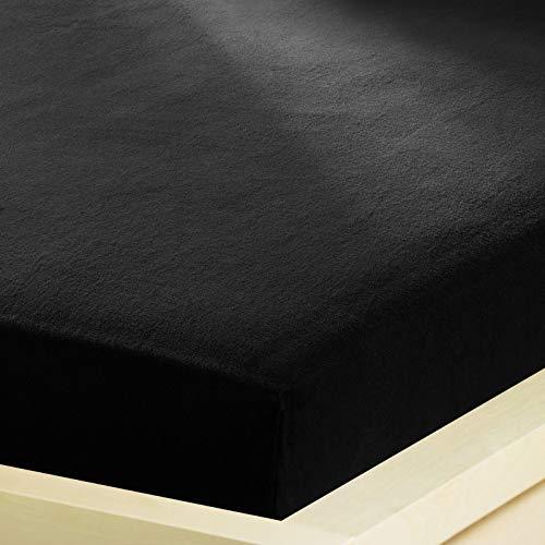 G Bettwarenshop Inkontinenz Spannbettlaken 2In1 • Wasserdicht Aus Weichem Feinbiber • Spannbetttuch Und Matratzenschutz In Einem 180x200-200x200 cm schwarz