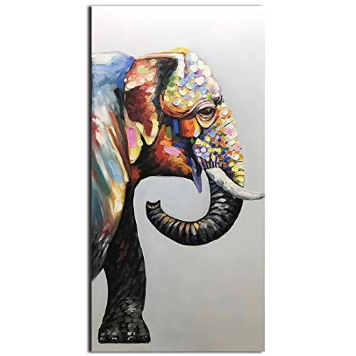 V-inspire Art, 24X48 Inch Contemporary Hand-Painted Oil Painting Color Elephant Home Decorative Wall Art Canvas Palette Knife Painting in Wooden Frame