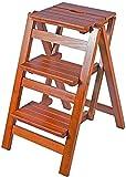 Hockerleiter Büro Steps Hocker aus Holz Folding Schritt for Schritt Hocker for Erwachsene & Kinder Küche s Kleinen Fuß Hocker Tragbare Schuhbank/Blume-Rack (Color : Brown, Size : 3 Steps)