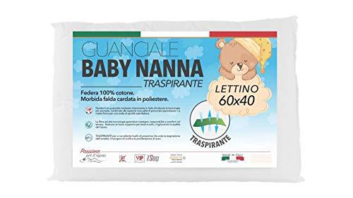 Baby Nanna cuscino neonato, 100% Italiano, cuscino per bambini. Cuscino antisoffoco lettino da campeggio, letto bambino. Traspirante e antibatterico, Taglia 40x60.