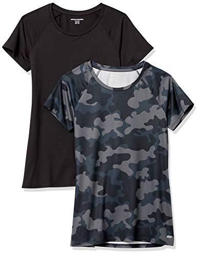 Amazon Essentials Camiseta de Manga Corta Tech Stretch Paquete de 2, Negro/Color Carbón, Camuflaje, L