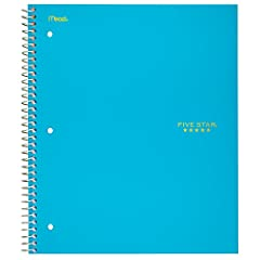 Lasts all year. Guaranteed 1 subject notebook has 100 graph ruled sheets, 4 squares per inch, which are ink bleed resistant Pocket page divider holds loose sheets and is reinforced to help prevent tearing; Water-resistant plastic front cover and heav...