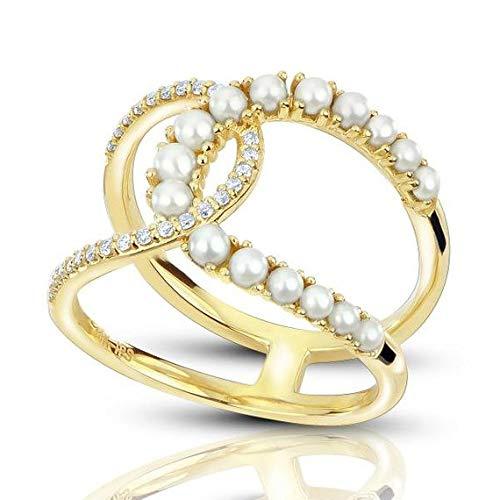 Anillo con doble perla y diamantes acentuados en oro amarillo de 14 k (0.14ct), anillo de compromiso con oro amarillo para siempre, anillo de bodas y aro con acento