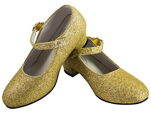 Gojoy shop- Zapato con Tacón de Danza Baile Flamenco o Sevillanas para Niña y Mujer, 5 Colores Disponibles (P- Dorado, 32)