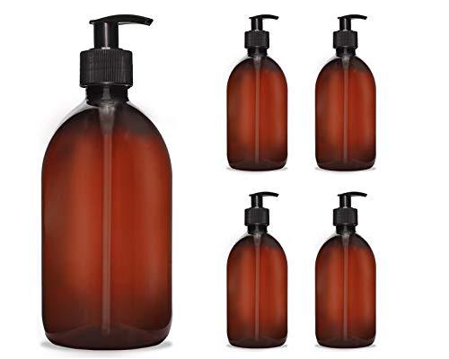 Octopus 5X 500 ml Seifenspender Cremespender Kunststoff für Bad/WC nachfüllbar, Pumpspender Desinfektion Lotion Spender für Flüssigseife, Handseife, Shampoo, Spülmittel, braun/schwarz