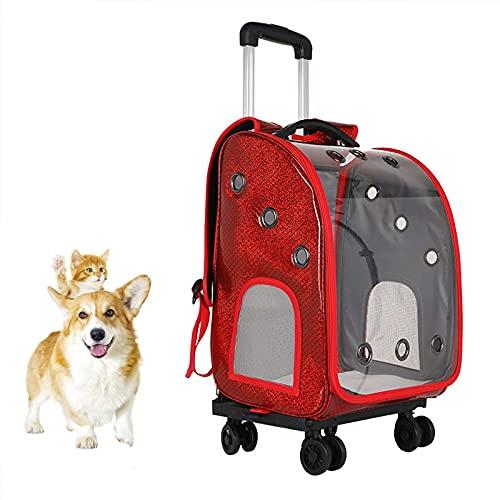 FRlss - Trolley per cani e gatti, design rimovibile, con manico retrattile, finestra di ventilazione in rete, colore: rosso
