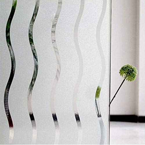 ZHXK Privacy Frosted Window Film, Translucent Non-Adhesive Wave Glass Window Sticker, Anti-UV Static Clings for Office Kitchen or Home Decorative (White)