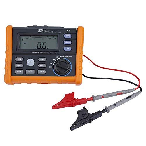 Medidor de Resistencia Digital, PM5203 1000V Aislamiento Megohm Probador, Resistencia Megger, AC DC Probador de Voltaje, con PantalElLCD Retroiluminada