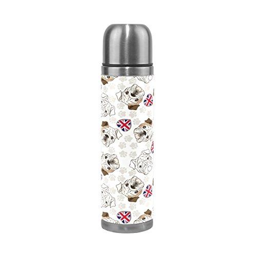 COOSUN Botella Bulldog Inglés Acero Inoxidable Frascos de Agua de vacío Taza aislada a Prueba de Fugas de la Botella Doble vacío, Viajes PU Taza térmica, 17 oz 17 oz