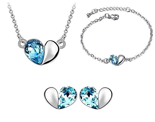 korpikus® Metal & Jewel Collier Coeur Cristal, Bracelet et boucles d'oreilles Bijoux Trio Set (En organza sac cadeau gratuit)