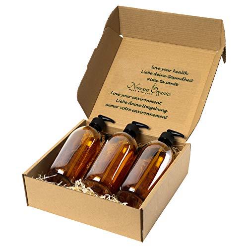 Nomara Organics Juego de dispensadores de jabón, 3 x 300 ml de vidrio ámbar. En caja de paja, sin BPA, con bloqueo, tapas, reutilizable, organizador de baño, cosméticos
