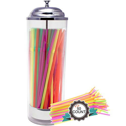 Tiger Chef Straw Dispenser - Straw Holder Including 50 Neon Straws - Clear Plastic and Stainless Steel