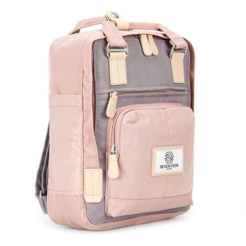 SEVENTEEN LONDON – Moderner, einfacher und Unisex 'Hackney Mini' Rucksack in rosa & grau mit einem klassischen Design im Skandi-Stil – perfekt für Tablets