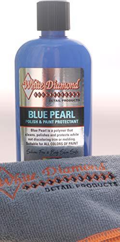 White Diamond Detail Products Blue Pearl - Esmalte de coche y protección de pintura con gamuza de microfibra bordada con diamante blanco