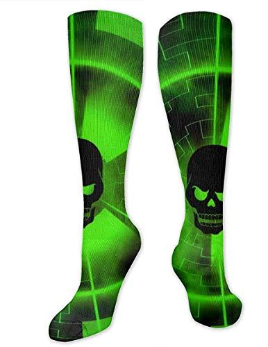 NCH UWDF Neongrüner Schädel Wissenschaft Scary Theme Fall Recovery High Boot Socken, Kompressionssocken