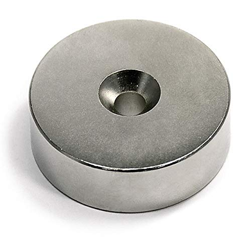 CMS Magnetics Neodymium Magnet with Countersunk Hole on Both Sides, Grade N42 1 1/2 Diameter x 1/2' 1 Piece. Very Strong Magnet, Read The Instructions
