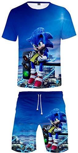 Silver Basic Nios Ropa Deportiva Chndal Sonic Camiseta y Pantalones Conjunto de Pijama de Verano Videojuego Sonic The Hedgehog Disfraz de Cosplay 120, 750Sonic&Luces-5