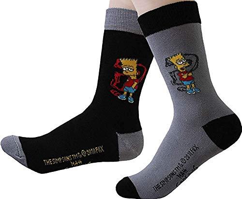 United Labels Kinder Socken Bart Simpson 2er Pack Grau Schwarz 31-34