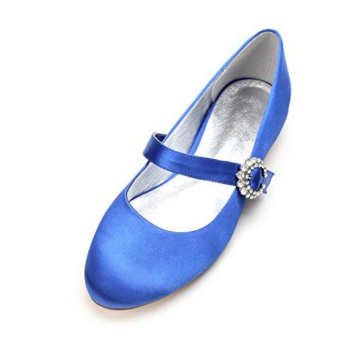 AQTEC Zapatos de Boda para Mujer Bajo Talón Cerrado Dedo del Pie Fiesta Ballerines Planos Zapatos de Novia con Correa en el Tobillo,Azul,44 EU