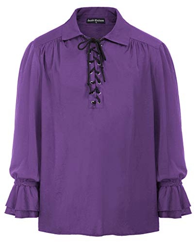 Mens Retro Scottish Jacobite Ghillie Kilt Shirt Pirate Renaissance Tops Purple M