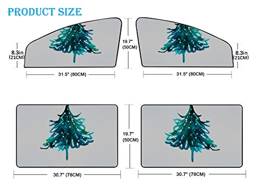 ZHANGhome 4 Stück Sonnenschirm Autofenster Kunst Aquarell Weihnachtsbaum Auto Sonnenschirm für Fenster Magnetvorhang Helles Sonnenlicht, Hitze und UV-Strahlen Schutz für Ihr Kind und Kinder