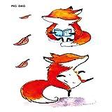 Gato perro zorro conejo impermeable tatuaje pegatina lindo divertido animal tatuaje 3Pcs-31: 105 × 60 mm