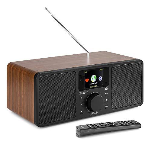 Audizio Rome Internet WIFI DAB+ Radio Digital Altavoz Estéreo con Bluetooth, Doble Alarma, Reloj, LAN, DNLA, UPnP Streaming, Madera
