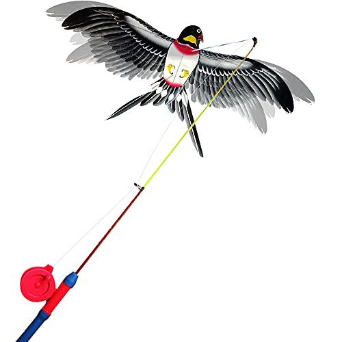 Alas dinámicas con aleta cometas con caña de pescar,las alas aleteadas en el viento como un águila mariposa golondrina real,las alas las cometas simuladas se aletean libre y automáticamente (Swallow)
