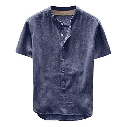 NOBRAND Herren Sommer Hemd Hot Pure Hanf Knopf Kurze Ärmel Baumwolle Leinen Hemd mit Taschen Harajuku Große Pullover Bluse Top Gr. 56, navy