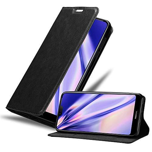 Cadorabo Hülle für Nokia 7.1 2018 in Nacht SCHWARZ - Handyhülle mit Magnetverschluss, Standfunktion & Kartenfach - Hülle Cover Schutzhülle Etui Tasche Book Klapp Style