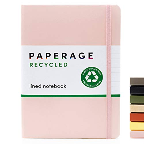 Recycled Lined Notebook Journal- Hardcover with Elastic Closure and Bookmark- Recycled Paper- Pink Blush, Ruled- 5.7 by 8 inches- great for journaling, notes, home, school and office