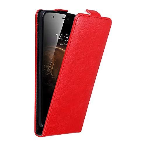 Cadorabo Hülle für Huawei G7 Plus / G8 / GX8 in Apfel ROT - Handyhülle im Flip Design mit unsichtbarem Magnetverschluss - Hülle Cover Schutzhülle Etui Tasche Book Klapp Style