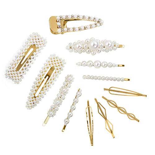 CINEEN 12 Pcs Moda Clips de Pelo Simple Perla Horquilla Artificiales de Pelo Perlas Clips de Pelo Decorativos Hechos a Mano Clips Pearl Hair Clip para Damas y Niñas