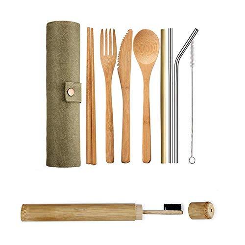 Explea Juego de cucharas de Cubiertos de bambú Vajilla portátil para Picnic, Barbacoa, Almuerzo Escolar, Comida callejera, Viajes, Camping, Fiesta Fácil de Limpiar efficient