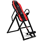 Goplus Heavy Duty Inversion Table Vibration Massage and Heat Comfort Back Stretching Machine with Ultra-Thick Back Support Up to 300 Lbs (Black+Red)