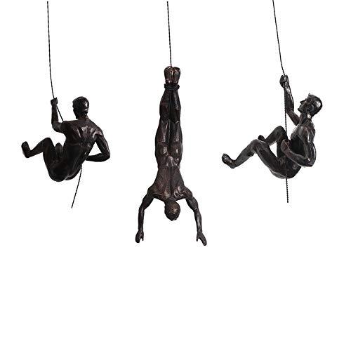 3X Trio de Rappel de Escalada de Bronce Retro Adornos Colgantes Figuras Conjunto de 3 Hombres Ornamento de Rappel Escultura Arte de Pared Resina y Metal Bungee Jumping