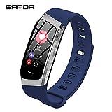 PXX Montres - Bracelet intelligent Surveillance de la pression artérielle de la fréquence cardiaque Bluetooth Information sportive étanche Montre push,D