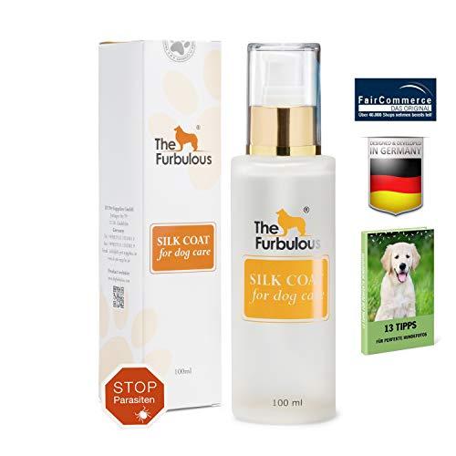 TheFurbulous Silk Coat (verbesserte Version) Tierhaar Pflege mit einem Pflegemittel aus Kokosöl - Hilft gegen Hundegeruch Zecken Flöhe Verfilzung & Haarausfall - Sorgt für gesund aussehendes Fell
