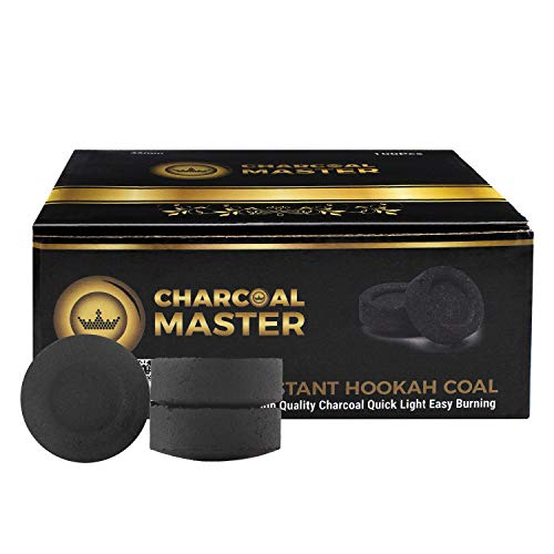 Hookah Coals Instant Light – Incense Instant Coal Disks – Coal Tablets – Charcoal Disks – Set of 100 Coals – 33 mm Quick Light Charcoal Briquettes – Natural Coal Disks – Slow Burn and Low Smoke