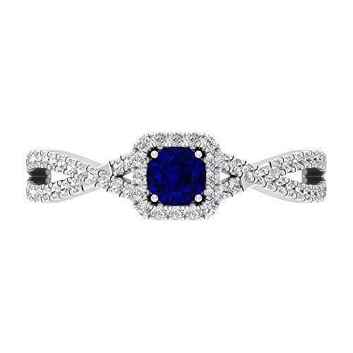 Anillo de compromiso de rubí, anillo halo de diamante, anillo solitario de oro con piedras laterales (rubí de 4 mm), 14K White Gold, Ruby, Size:US 54